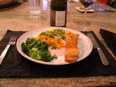 Dinner at the Johnsons\' condo--Yukon River salmon.