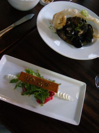 Chioggia Beet Salad and Mussels and Clams at Spur Gastropub make wonderful choices.