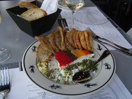 Caviar Pie with all the fixin\'s is a fave appetizer (that serves four!) at Steelhead Diner in the Pike Place Market.