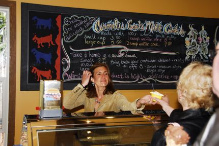 Ofri Barmor, cheesemaker at Carmelis Goat Cheese Artisan in the Okanagan, serves up some of her delicious gelato.