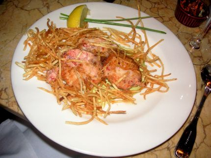 Icon Grill\'s Wild Salmon Cakes comes with perfectly cooked Shoestring Fries