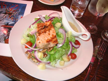 The Salmon Caesar Salad at Maximilien is a generous and well-prepared version about town.