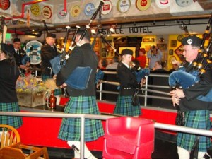 The Elliott Bay Bagpipers bring in the Haggis at Pike Pub in downtown Seattle.