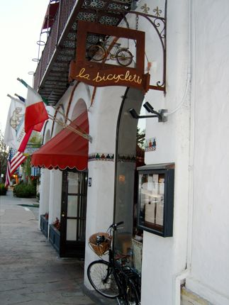 The jaunty exterior of La Bicyclette, a modest but inspired restaurant in Carmel, California.