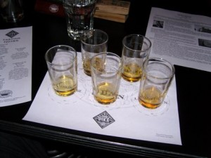 Five single-malt Scotches awaiting sampling at the Pike Pub in downtown Seattle.
