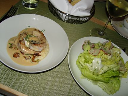 Shrimp with Grits and Butter Lettuce Salad are winning selections at Springhill.