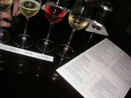 A flight of wines is ready to \