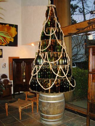 This wine lover\'s Christmas tree was spotted at a lifestyle shop in downtown Carmel, California.