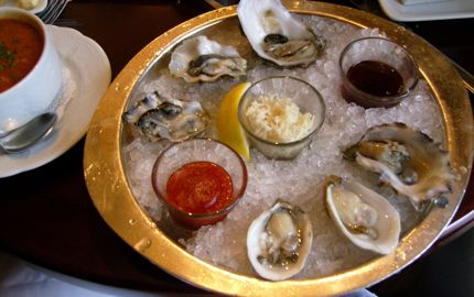 Lunch at Shuckers always includes Seafood Chowder and half a dozen oysters on the half shell.