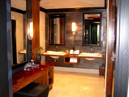 Our bathroom at Our bedroom at Tulalip Resort Casino in Marysville, Washington.