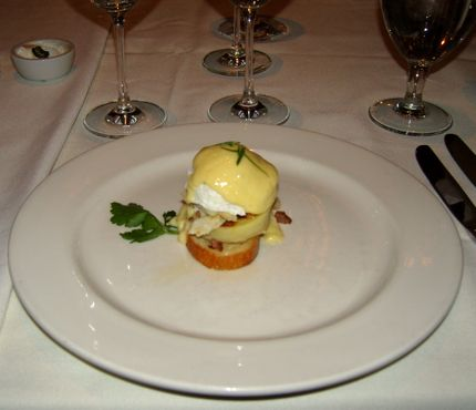 Waterfront Crab Benedict featured fresh Maryland crab.