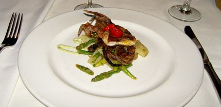 Waterfront Soft-shelled Crab was served with a lemon/garlic/caper sauce.