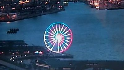 Seattle great wheel elliott bay waterfront july 4 photo