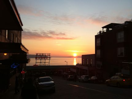Pike place market sunset shot