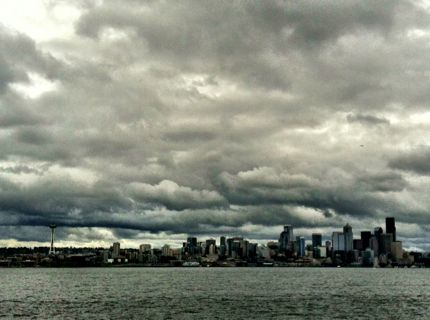 Seattle Cityscape from Bainbridge Island Ferry