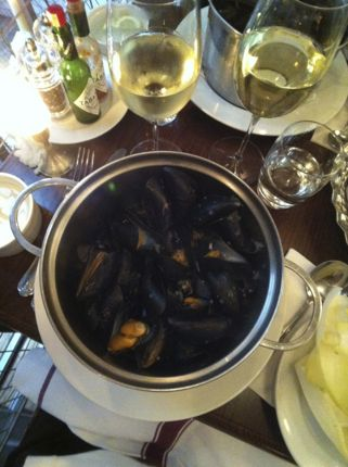Steamed mussels in London, England