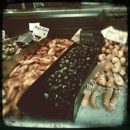 Fresh seafood display in Rouen, france