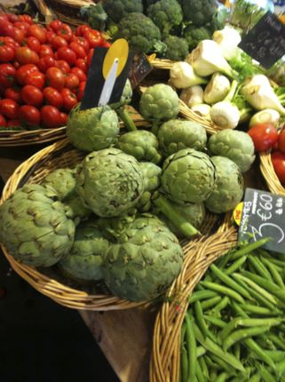 Giant artichokes at farmers market in Bordeaux, France