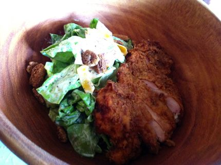 Cask & Larder fried chicken bibb lettuce salad