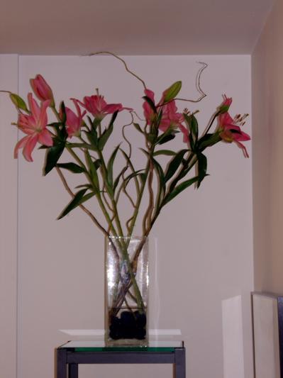 Braiden\'s simple flower arrangement of Stargazer Lilies from the Pike Place Market.