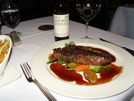 The peppercorn steak at Canlis.