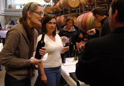 Braiden bottling her red-wine blend at Novelty Hill/Januik Winery.