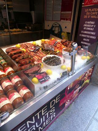 Fresh seafood display in St. Malo