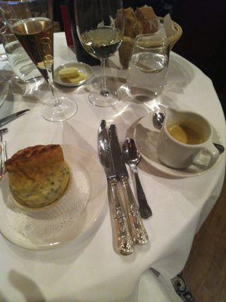Spinach soufflé at Langans Brasserie, London, England